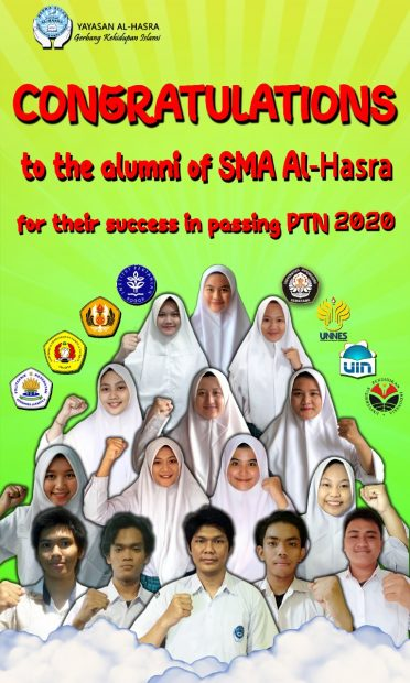 Congratulations to the Alumni of SMA Al-Hasra for their succes in passing PTN 2020