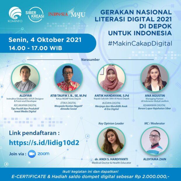 Gerakan Nasional Literasi Digital 2021 di Depok untuk Indonesia